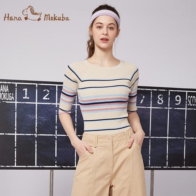 【Hana Mokuba】花木馬日系女裝條紋針織衫(針織衫)