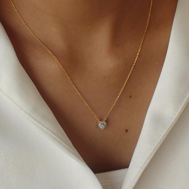 【CReAM】Heart 美國AAA+ CZ亮鑽愛心心型16顆鋯石純銀鍍14K金項鍊(金色/可調整長度)