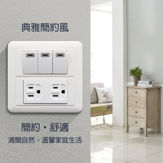 【朝日電工】雅白大型夜光三開雙接地插座組(開關插座組)