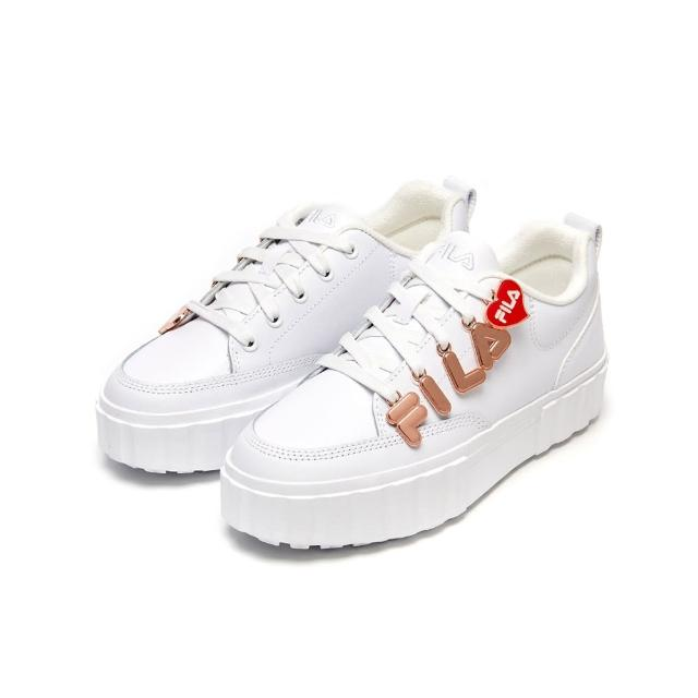 【FILA】運動鞋 厚底鞋 SANDBLAST LOW PENDANT 女運動鞋-白(5-C122V-155)