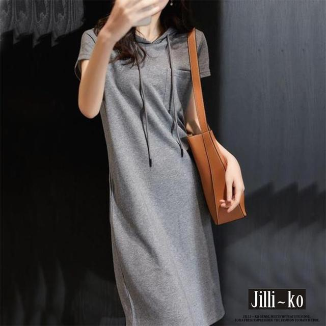 【JILLI-KO】純色抽繩連帽連衣裙-M/L(灰)
