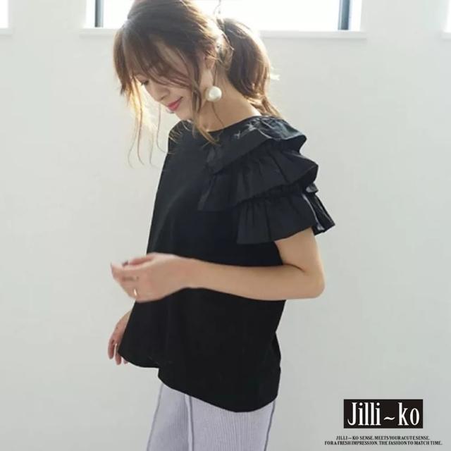 【JILLI-KO】日系設計蛋糕袖氣質上衣-F(黑/白)