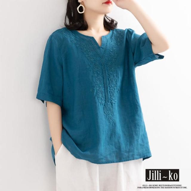 【JILLI-KO】同色刺繡棉麻感寬版上衣-F(藍)