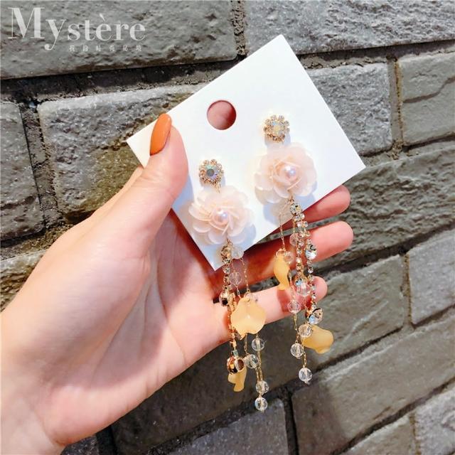 【my stere 我的時尚秘境】韓國春夏粉黃花朵水晶垂墜耳環(時尚 簡約 花朵 垂墜 水晶 粉黃)