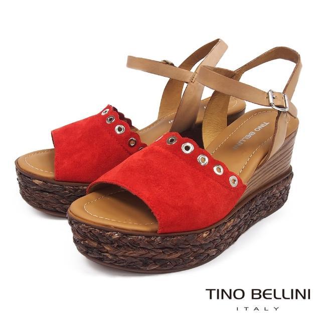 【TINO BELLINI 貝里尼】不羈牛麂皮木紋草編楔型涼鞋FPT0002(紅)