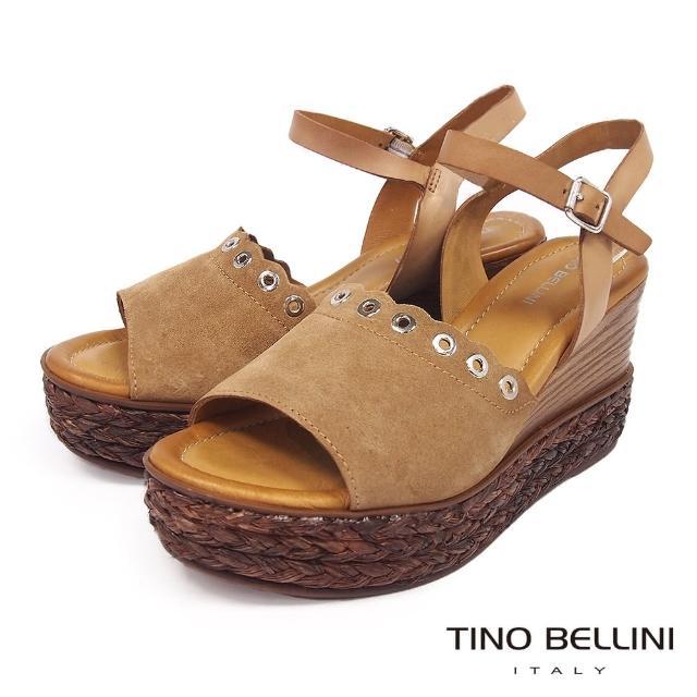 【TINO BELLINI 貝里尼】不羈牛麂皮木紋草編楔型涼鞋FPT0002(棕)