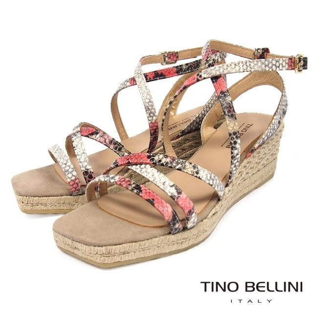 【TINO BELLINI 貝里尼】西班牙進口蛇紋細帶草編楔型涼鞋FNT0007(桃紅)