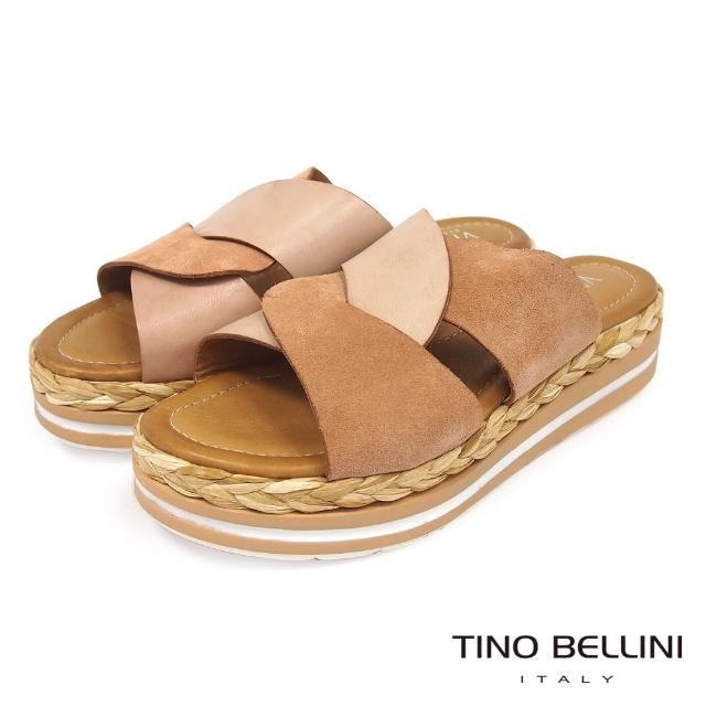 【TINO BELLINI 貝里尼】雙色曲線皮革草編厚底涼拖鞋FUV0001(粉)