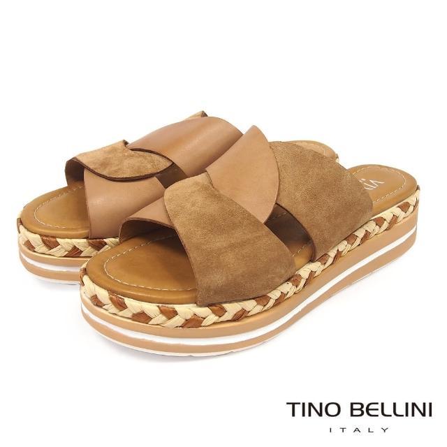 【TINO BELLINI 貝里尼】雙色曲線皮革草編厚底涼拖鞋FUV0001(棕)