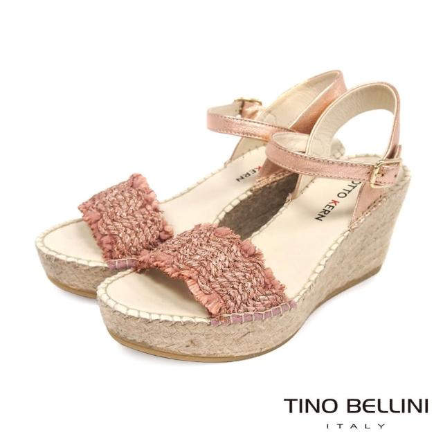 【TINO BELLINI 貝里尼】西班牙進口自然風編織草編楔型涼鞋FOO0010(桃粉)