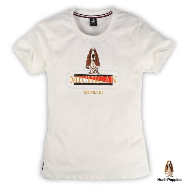 【Hush Puppies】女裝雙色植絨刺繡狗短袖T恤(米白 / 13211101)
