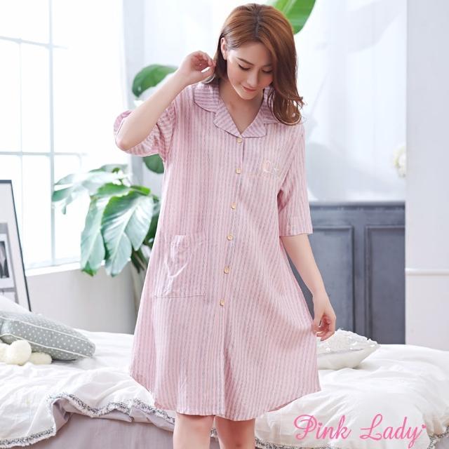 【PINK LADY】居家棉柔短袖睡裙 恬淡氛圍(粉色)