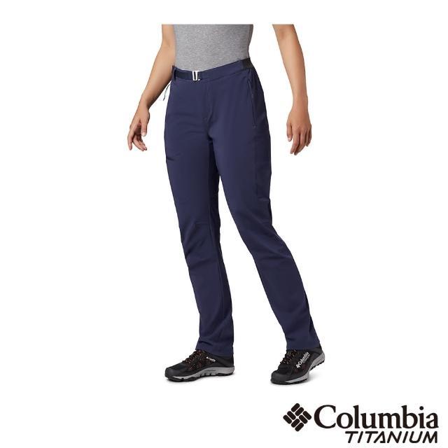 【Columbia 哥倫比亞】女款- 鈦UPF50防潑長褲-深藍(UAR14320NY / 抗UV.防潑水.機能)