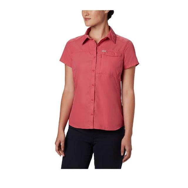 【Columbia 哥倫比亞】女款-UPF50快排短袖襯衫-玫瑰紅(UAR26540RO / 快排.防曬.休閒)
