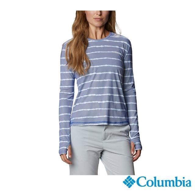 【Columbia 哥倫比亞】女款-UPF50抗曬快排長袖上衣-藍色(UAR24710BL / 抗UV.快排.襯衫)