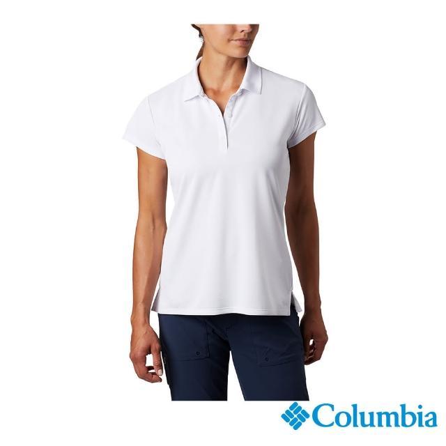 【Columbia 哥倫比亞】女款-UPF50快排短袖Polo衫-白色(UFL60870WT / 快排.防曬.休閒)