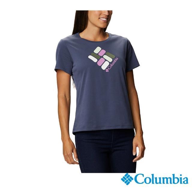 【Columbia 哥倫比亞】女款- LOGO快排短袖上衣-深藍(UAR31230NY / 快排.運動.戶外)