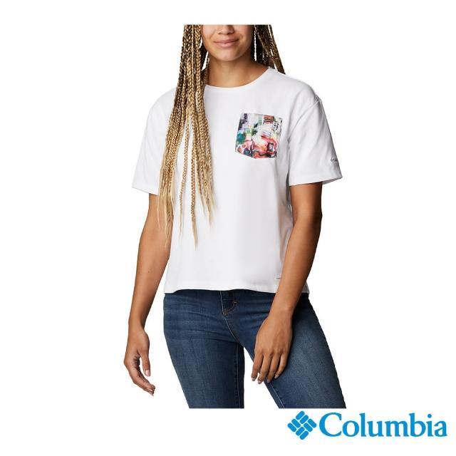 【Columbia 哥倫比亞】女款-口袋快排短袖上衣-白色(UAR31190WT / 快排.運動.戶外)