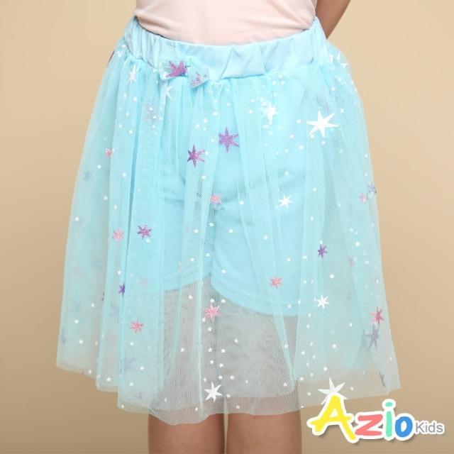 【Azio Kids 美國派】女童 短裙 大小星星印花蝴蝶結網紗短裙(藍)