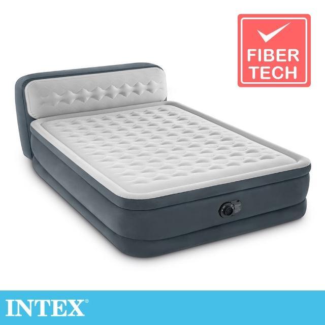 【INTEX】豪華菱紋內建電動幫浦fiber-tech雙人加大充氣床-床頭檔片設計(64447)