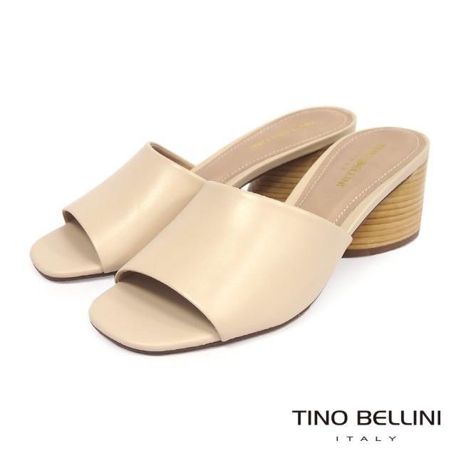 【TINO BELLINI 貝里尼】巴西進口質感羊皮中跟涼拖鞋FST0002(粉膚)