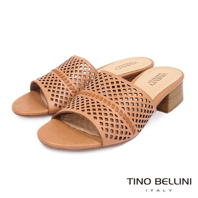 【TINO BELLINI 貝里尼】巴西進口氣質沖孔中低跟拖鞋FRV0001(棕)