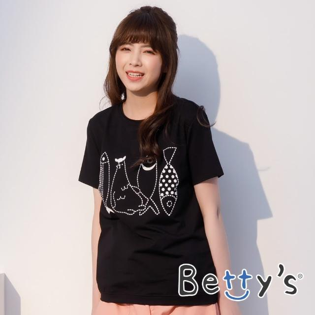 【betty's 貝蒂思】小魚印花圓領短袖T-shirt(黑色)