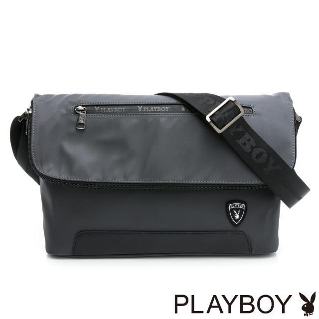 【PLAYBOY】翻蓋斜側背 Lightweight系列(灰色)