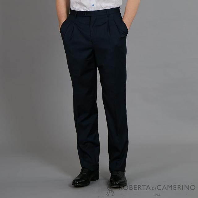 【ROBERTA 諾貝達】純羊毛 都會時尚型男精品西裝褲(深藍)