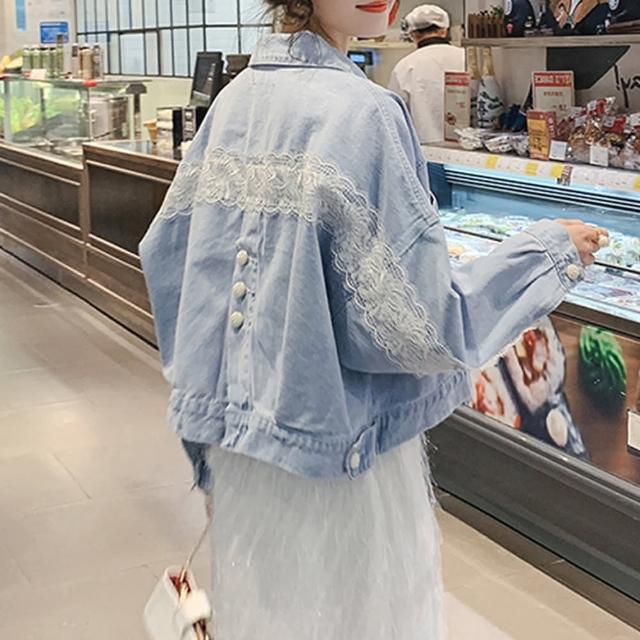 【BBHONEY】韓風蕾絲拼接甜美牛仔外套(網美熱搜款)