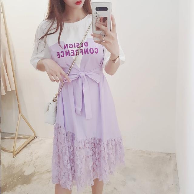 【BBHONEY】東大門款字母拼接蕾絲連身裙(網美熱搜款)