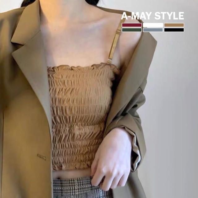 【Amay Style 艾美時尚】背心-皺褶木耳花邊BRA T小可愛(附可拆式胸墊.6色預購)