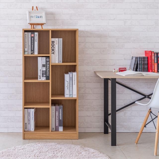 【TZUMii】賀比大規格七格櫃-原木色(書櫃 收納櫃 置物櫃 空櫃)