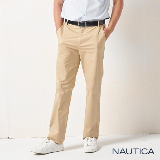 【NAUTICA】男裝 經典彈性休閒直筒長褲(卡其)