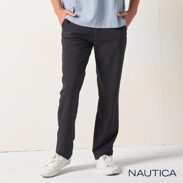 【NAUTICA】男裝 經典修身休閒長褲(黑色)