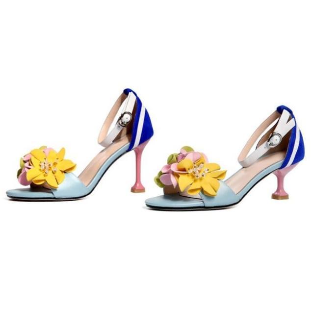 【Sp house】花漾春氛全真羊皮一字扣細高跟涼鞋(2款可選)