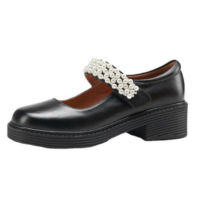 【Sp house】復古風潮全真羊皮珍珠魔鬼氈粗跟皮鞋(2色可選)