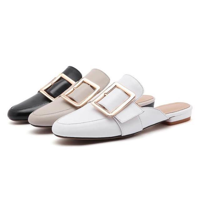 【Sp house】魅力非凡全真牛皮包頭穆勒涼鞋(3色可選)