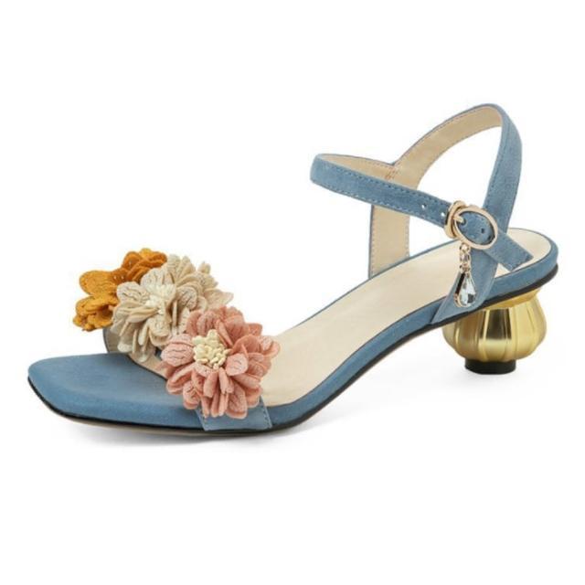 【Sp house】甜美女孩全真羊皮一字扣低跟涼鞋(2色可選)
