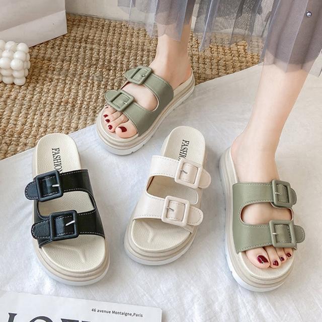 【LN】現+預 韓版皮帶扣厚底涼拖鞋(拖鞋/涼鞋/休閒鞋)