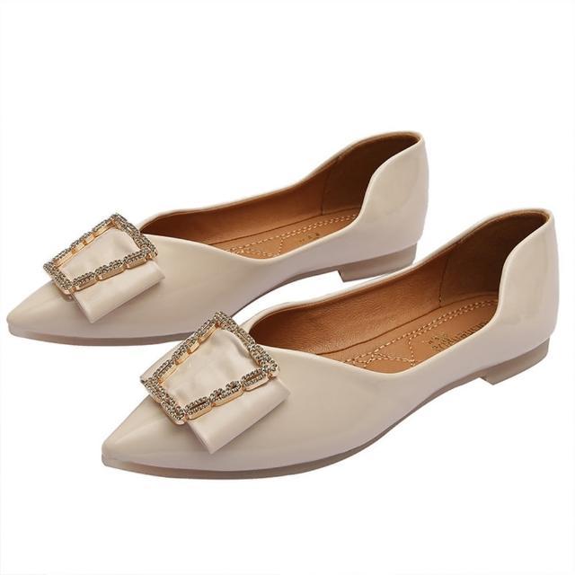 【Taroko】高雅蝴蝶結尖頭平底皮革淺口都會淑女鞋(3色可選)
