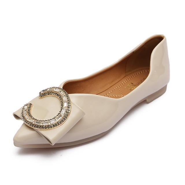 【Taroko】金鑌半月尖頭平底皮革淺口都會淑女鞋(3色可選)