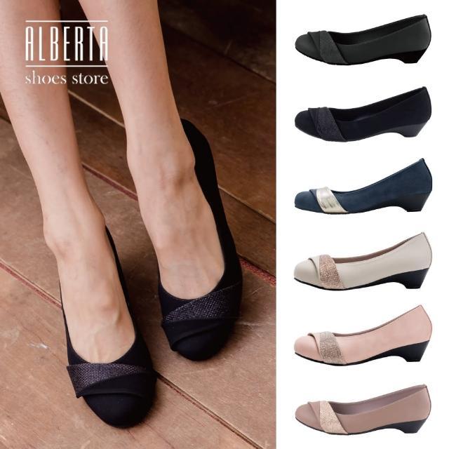 【Alberta】MIT台灣製 3cm休閒鞋 優雅氣質百搭 皮革圓頭小坡跟鞋 娃娃鞋 OL上班族