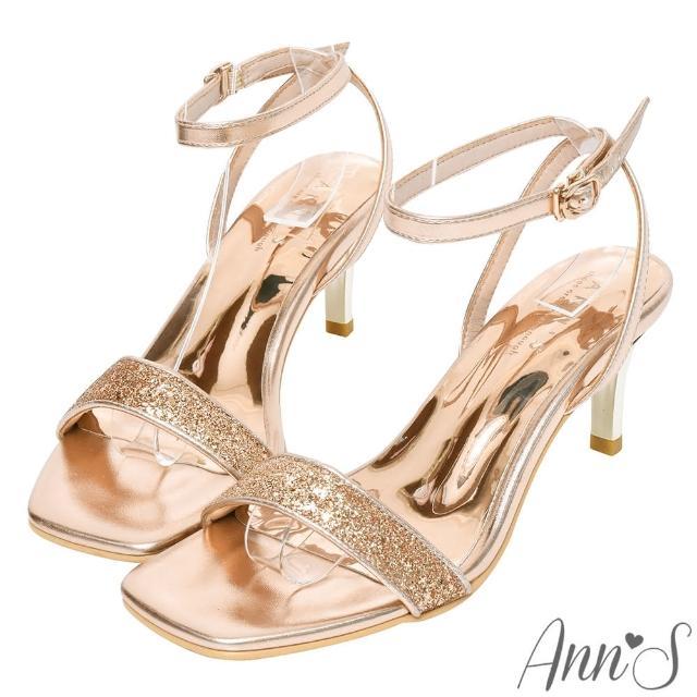 【Ann'S】最閃打光版-亮片一字帶電鍍細跟涼鞋6cm(玫瑰金)