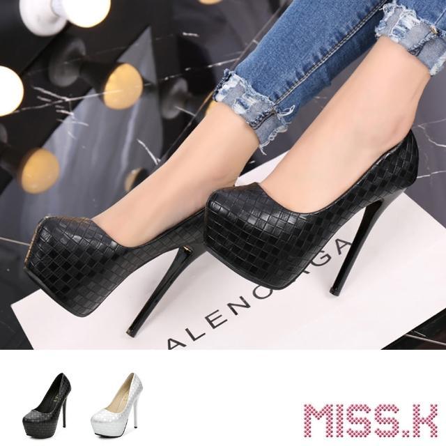 【MISS.K】防水台跟鞋 尖頭跟鞋/立體菱格壓紋小尖頭防水台14CM性感高跟鞋(2色任選)
