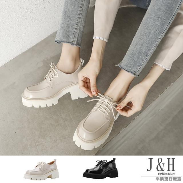 【J&H collection】英倫風方頭繫帶增高厚底小皮鞋(現+預 黑色 / 白色)