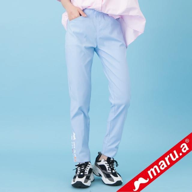 【maru.a】maru.a印花百搭長褲(淺藍)