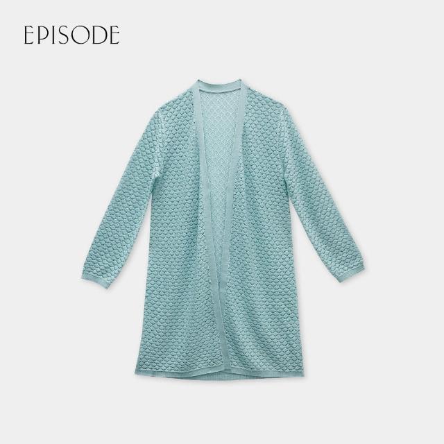 【EPISODE】舒適親膚立體交織長版針織開衫外套(綠)