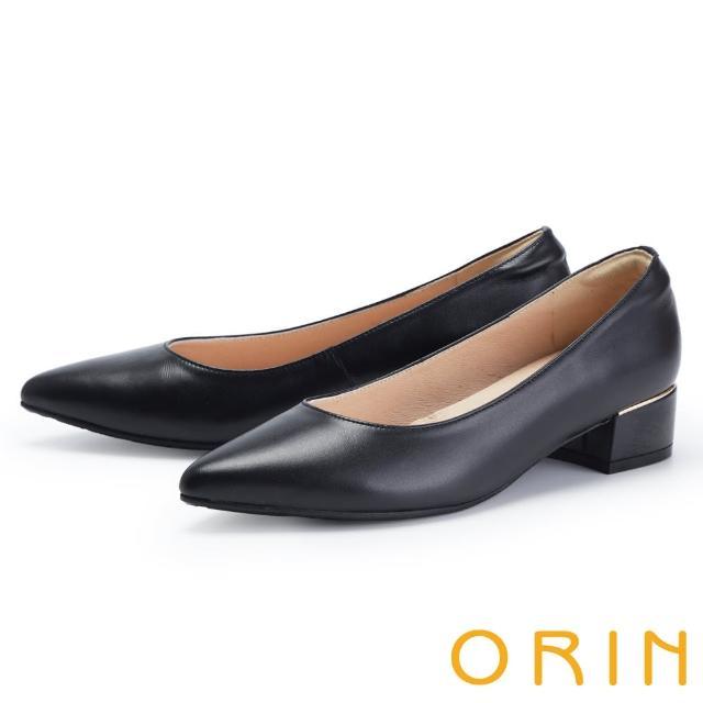【ORIN】氣質真皮尖頭金屬條 女 低跟鞋(黑色)