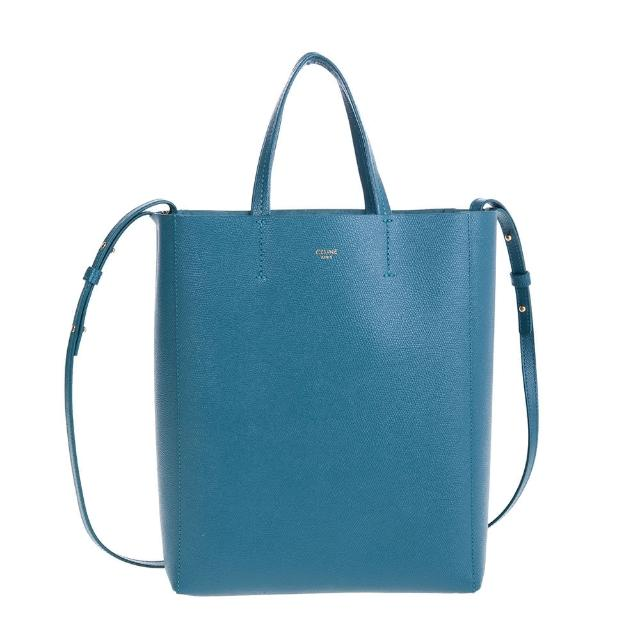 【CELINE】新款珠地小牛皮小型CABAS金釦手提/肩背包(普魯士藍)